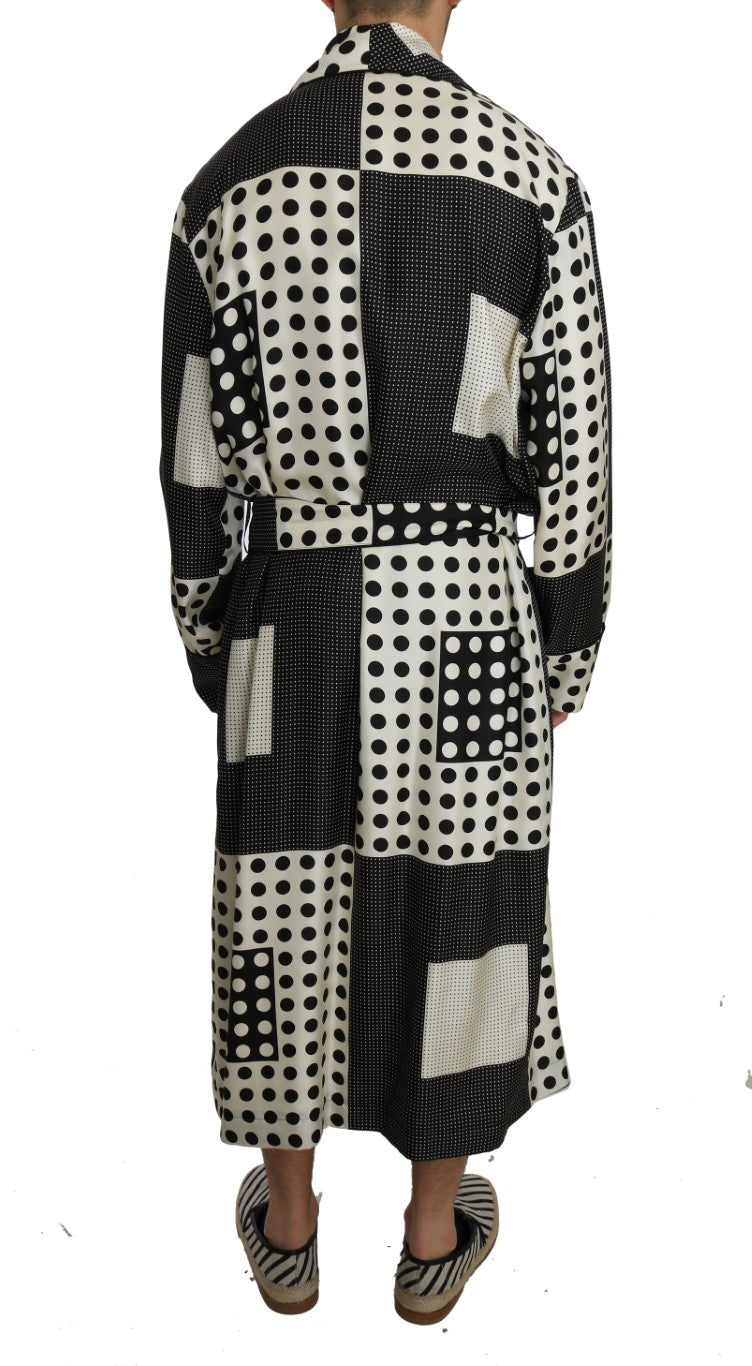SILK Robe Nightgown Black White Polka
