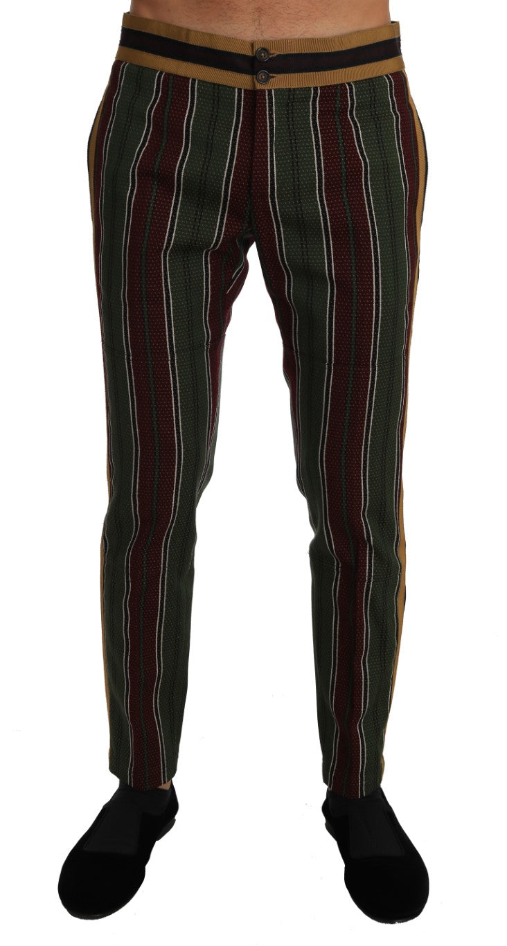 Green Bordeaux Striped Cotton Trousers Pants - EnModa.no