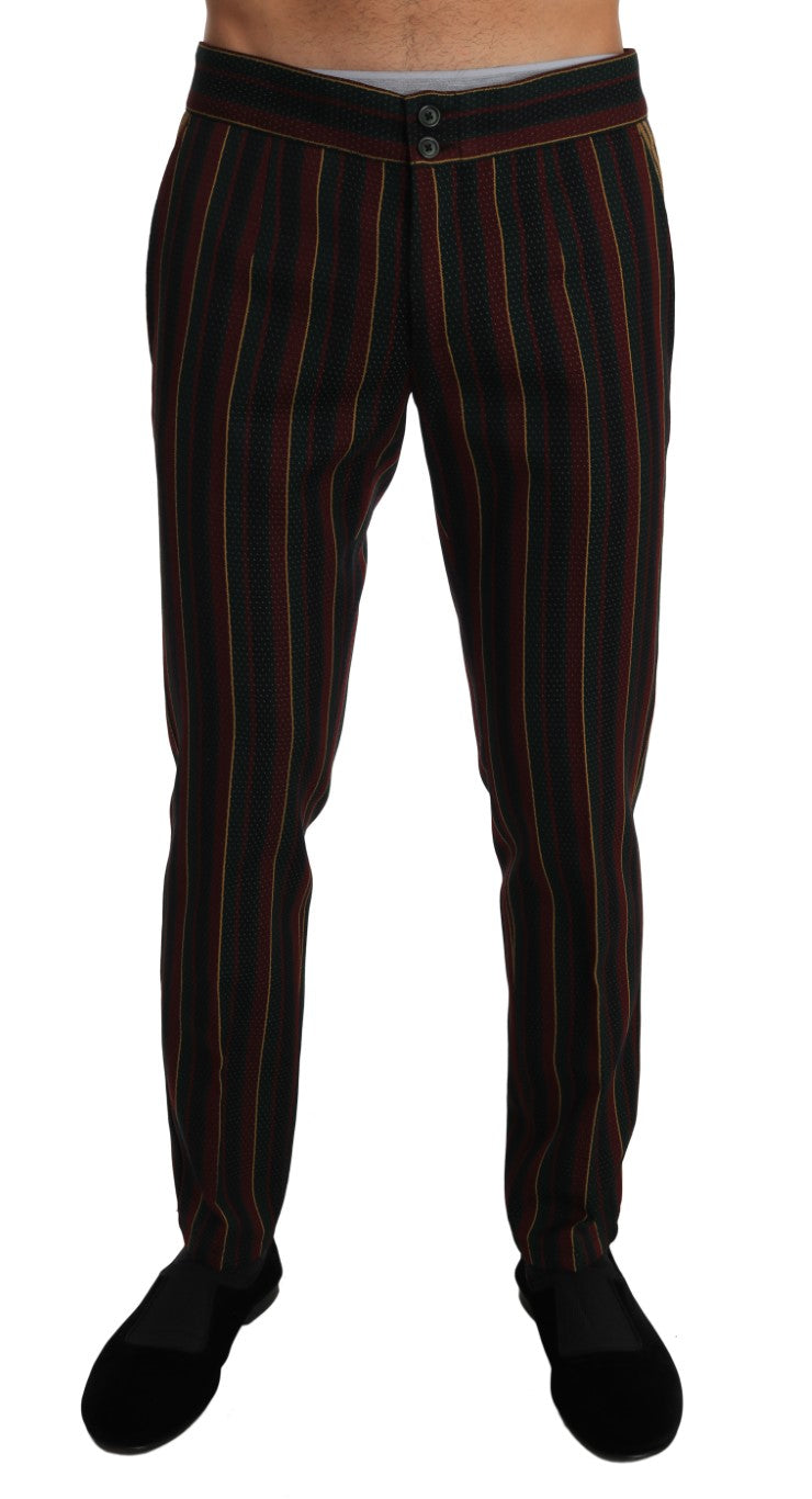 Green Bordeaux Wool Yellow Stripe Trousers