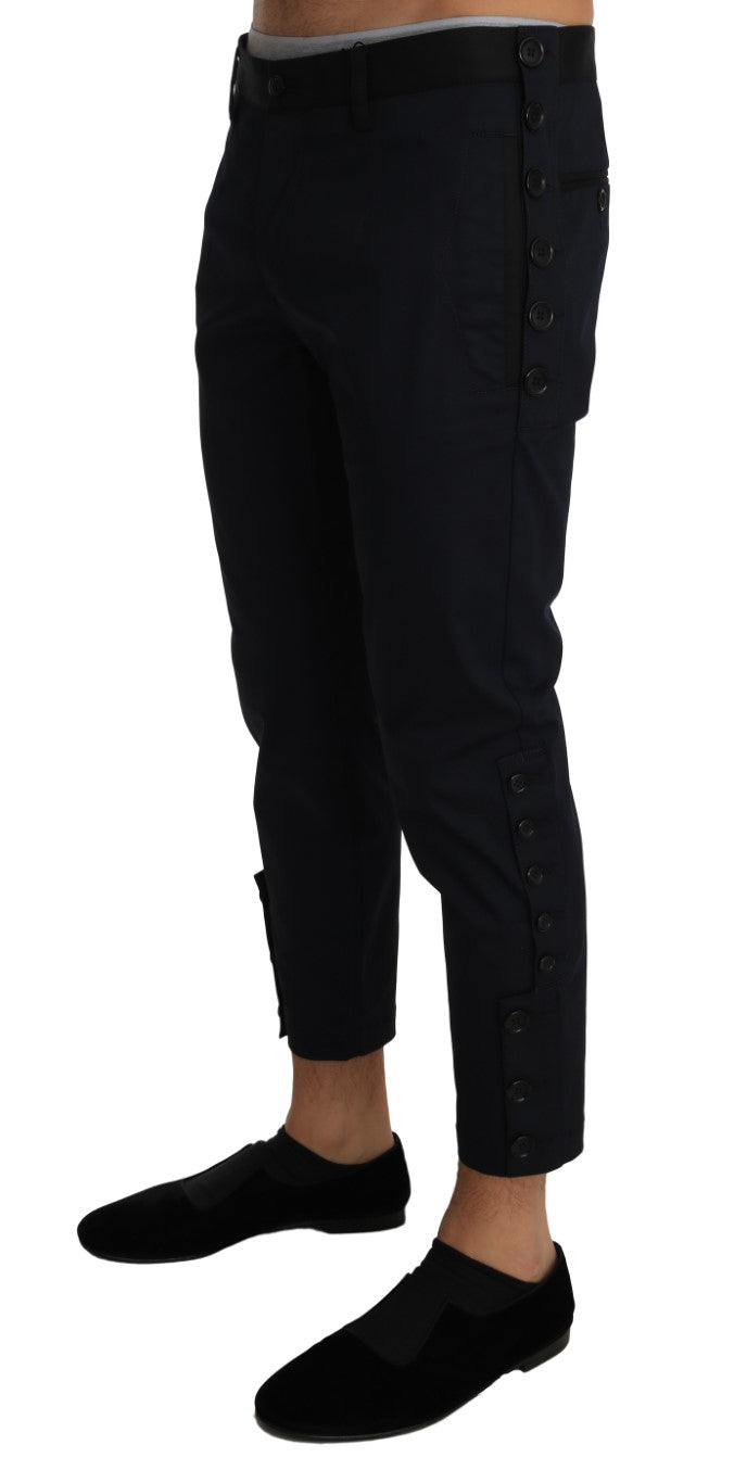 Blue Wool Cropped Stretch Trousers Pants
