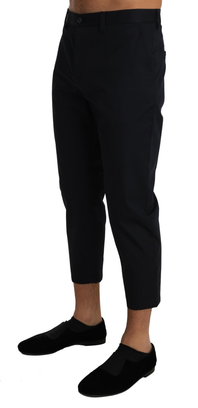 Blue Cotton Stretch Slim Cropped Trousers Pants - EnModa.no