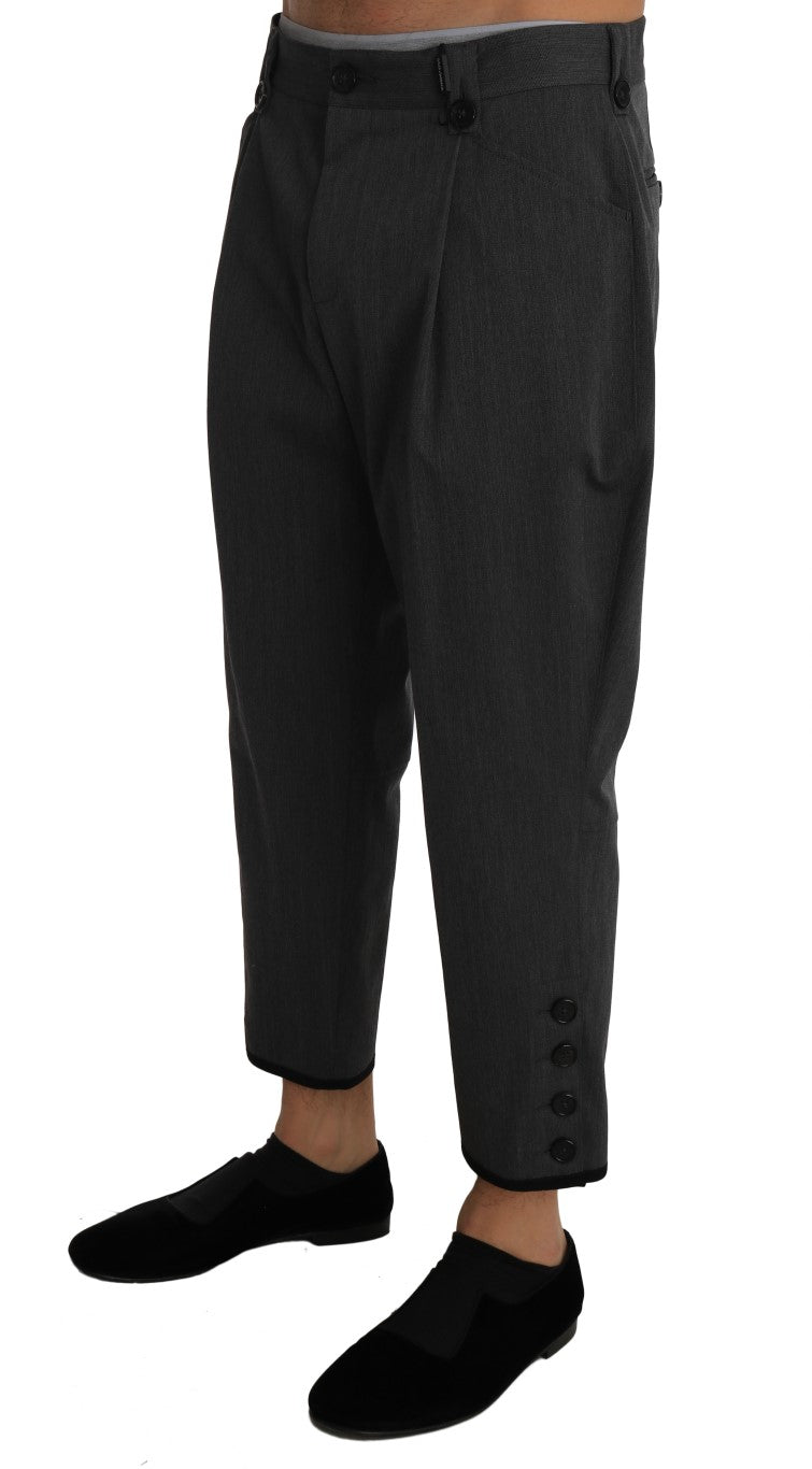 Gray Wool Cropped Stretch Trousers Pants - EnModa.no