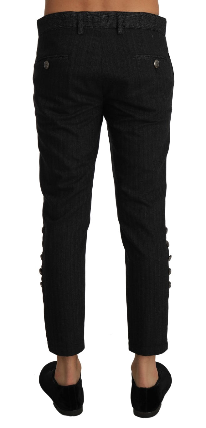 Gray Wool Patterned Slim Trousers Pants