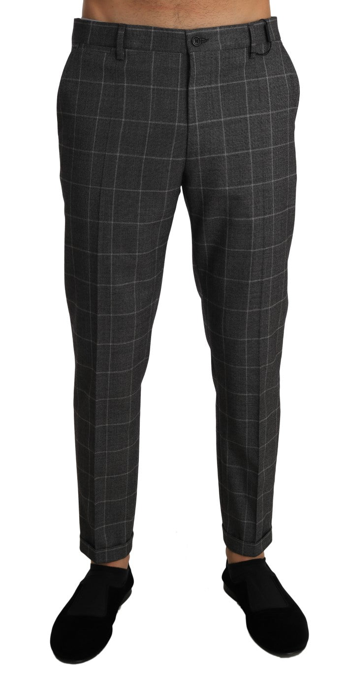 Gray Cotton Checkered Slim Trousers Pants