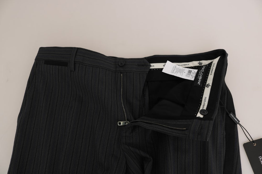 Gray Black Cotton Striped Dress Trousers Pants - EnModa.no