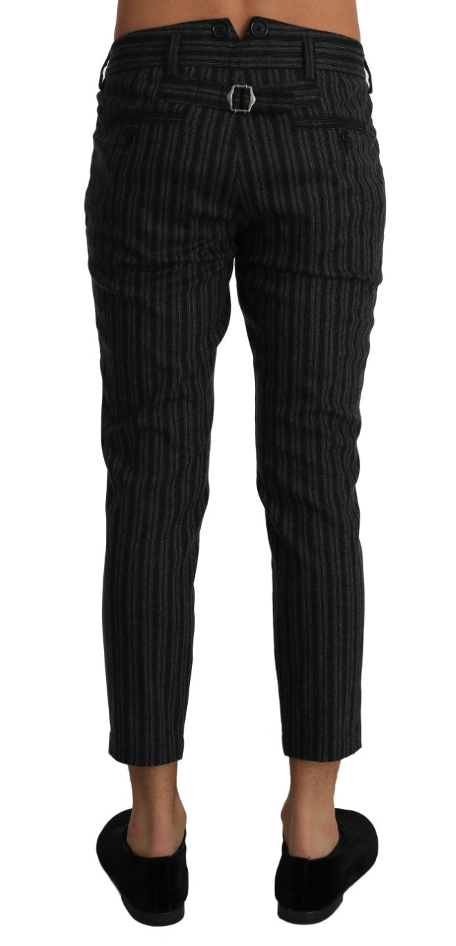Gray Wool Striped Cropped Trousers Pants - EnModa.no