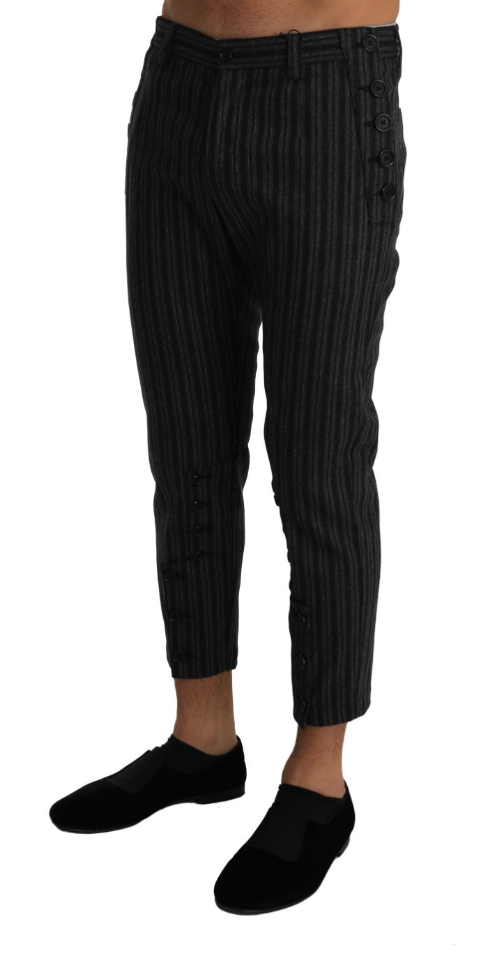 Gray Wool Striped Regular Dress Trousers Pants
