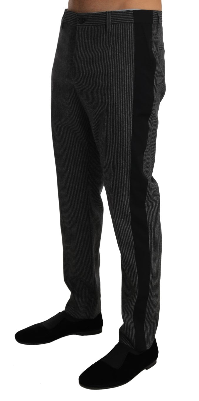 Gray Wool Black Stripe Dress Trousers Pants - EnModa.no