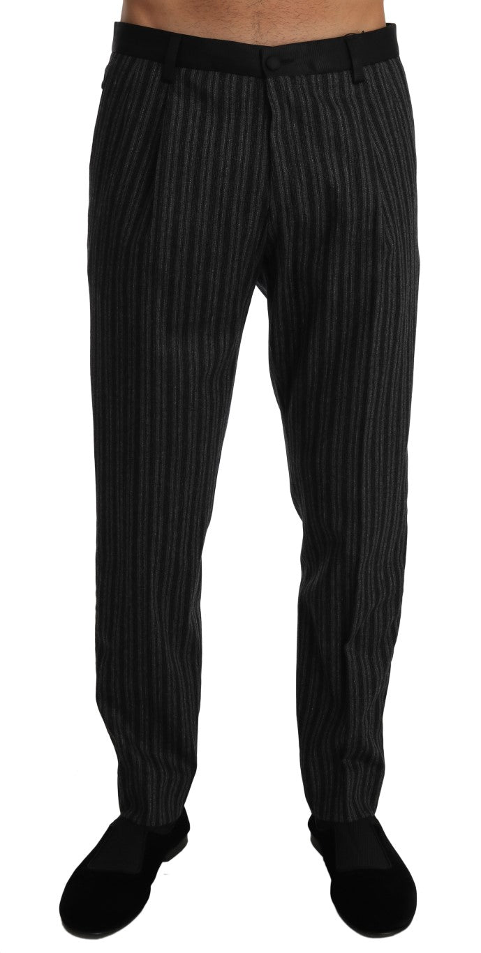 Gray Wool Black Stripe Regular Trousers Pant - EnModa.no
