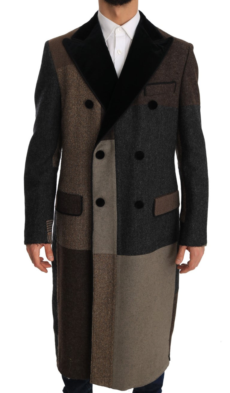 Brown Wool Double Breasted Jacket Coat