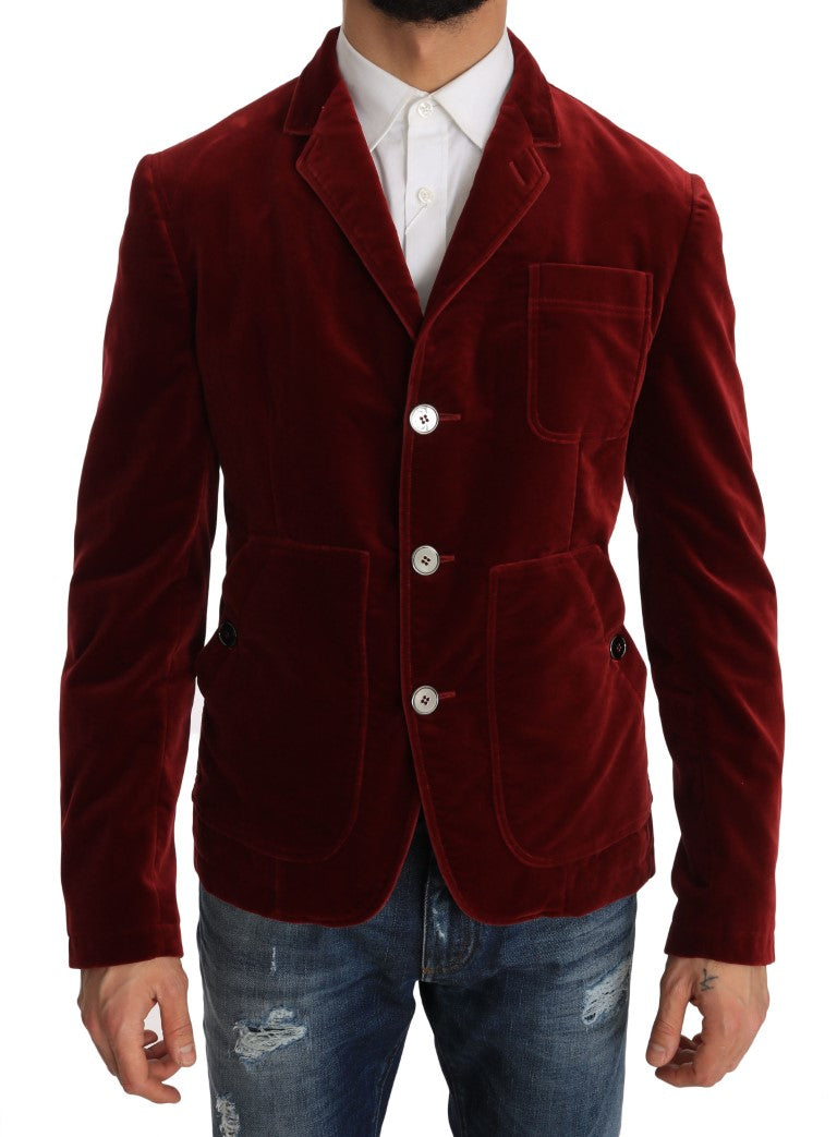 Sport Coat Blazer Bordeaux Velvet Jacket - EnModa.no