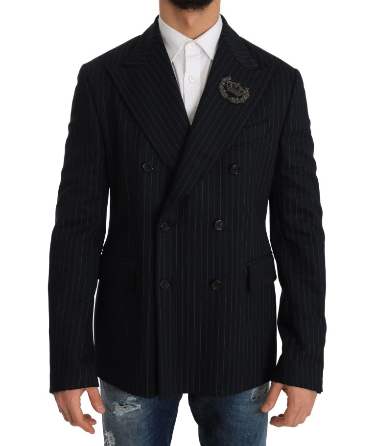 Blue Striped Royal Crown Blazer Jacket - EnModa.no