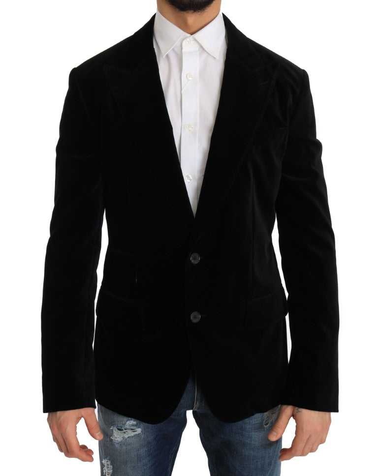 Black Velvet Single Breasted Blazer - EnModa.no