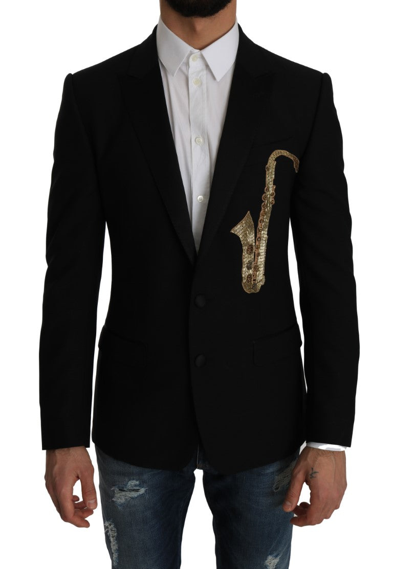 Black Wool MARTINI Slim Gold Blazer Jacket - EnModa.no