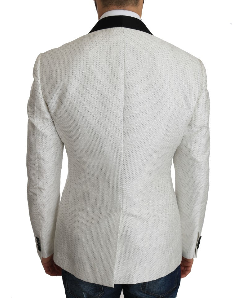 White Jacquard MARTINI Blazer Jacket - EnModa.no