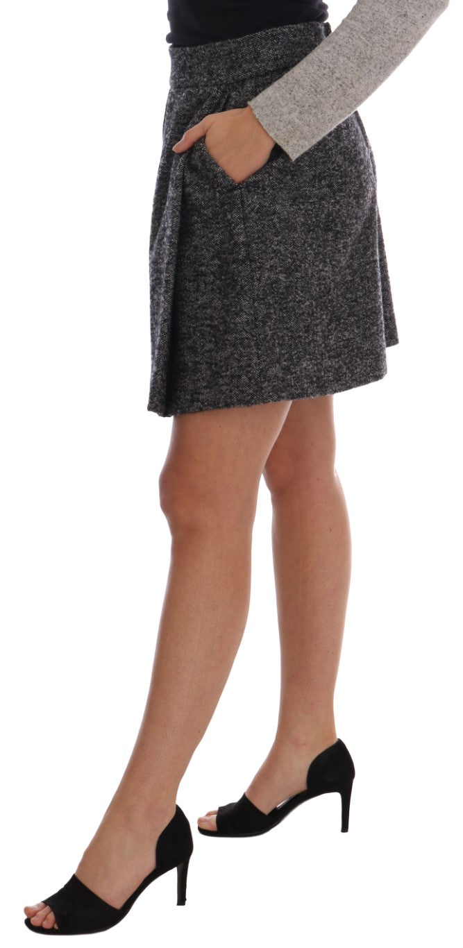 Gray A-Line Above Knee Wool Tweed Skirt - EnModa.no