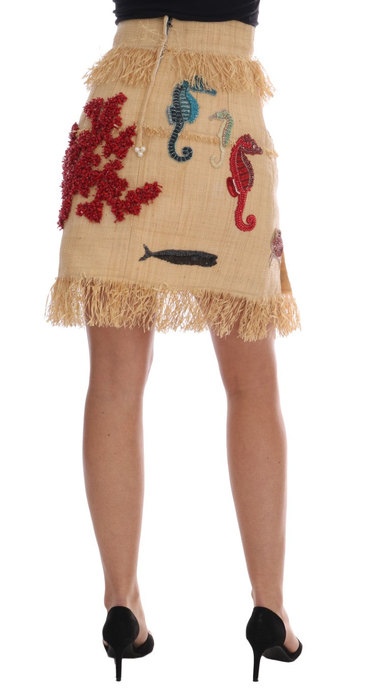 Crystal Beige Palm Fiber Skirt - EnModa.no
