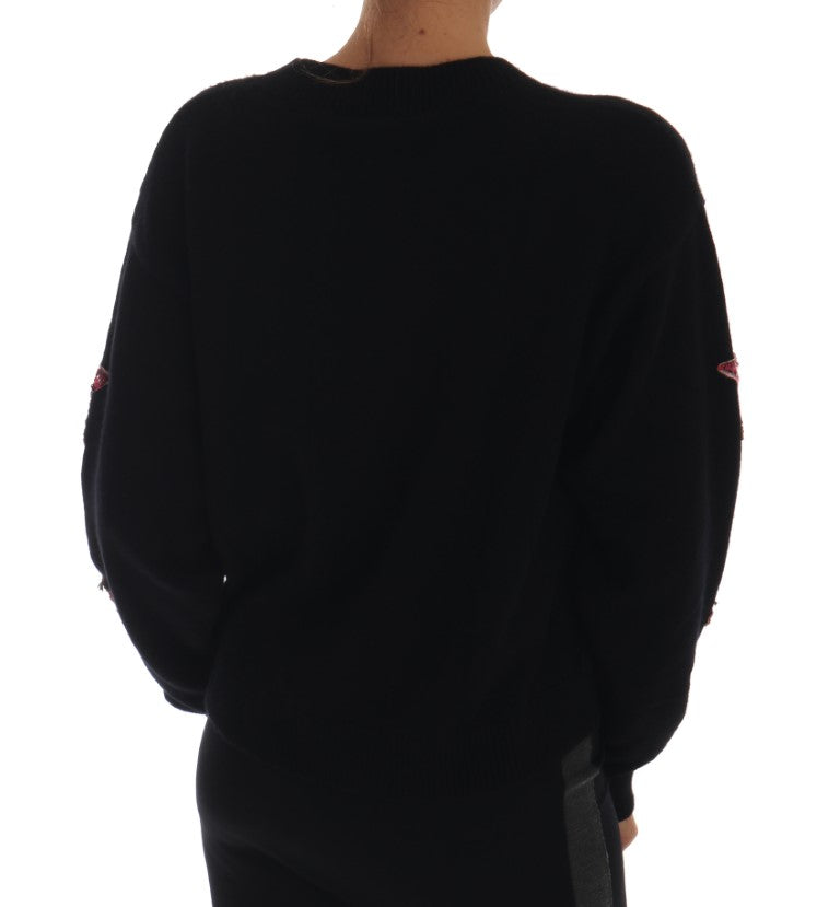 Fairy Tale Crystal Black Cashmere Sweater - EnModa.no