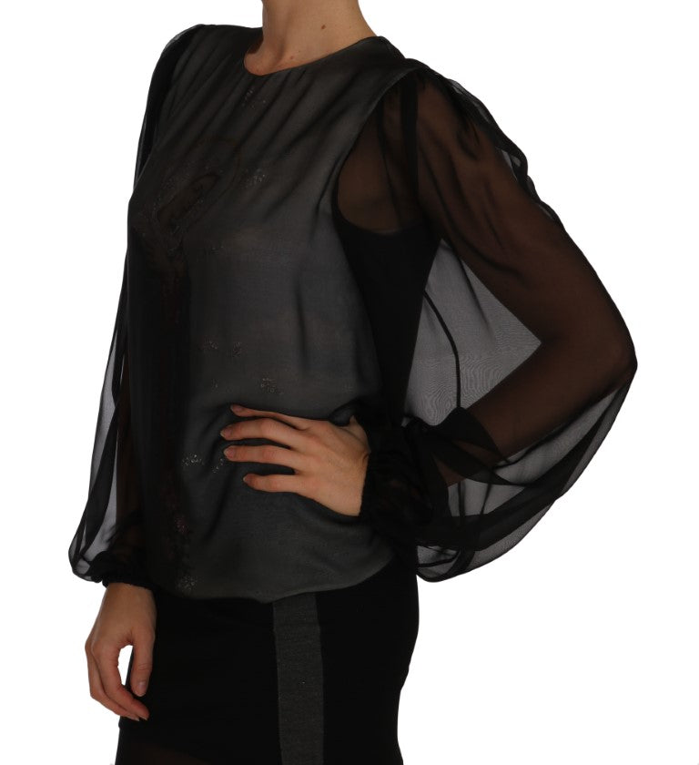 Silk Black MADONNA Crystal Sicily Blouse - EnModa.no
