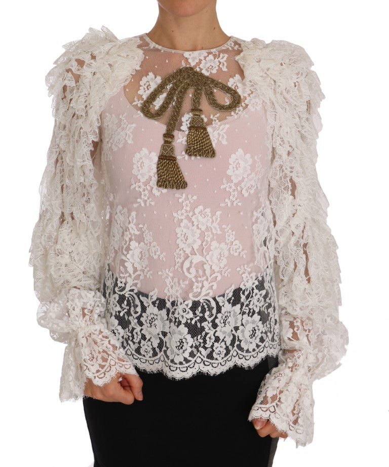 White Floral Lace Tassel Shirt