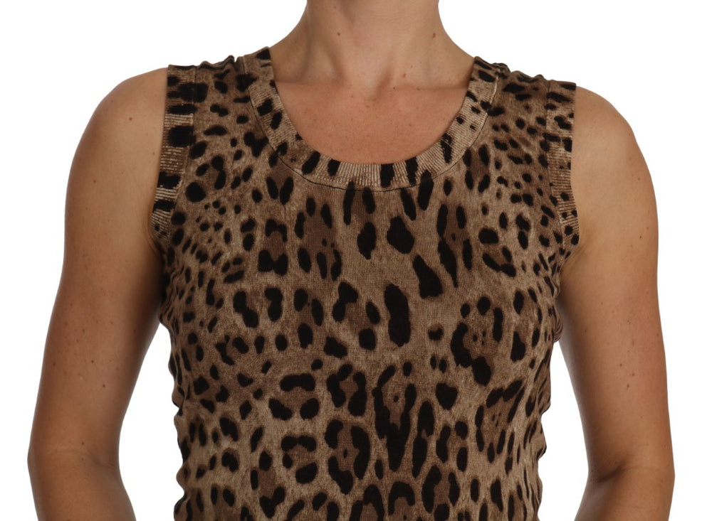 Cami Vest Wool Brown Leopard Print
