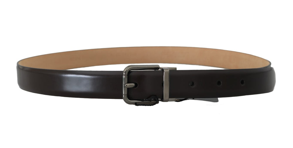 Brown Leather Silver Buckle Mens Belt