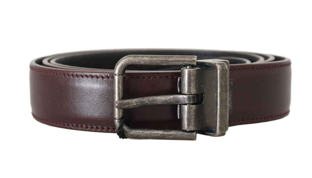 Bordeaux Leather Gray Brushed Buckle Belt - EnModa.no