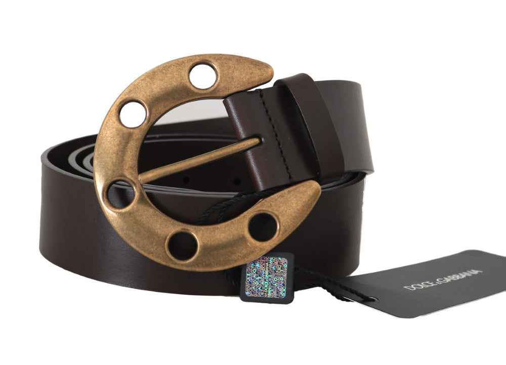 Brown Leather Gold Buckle Horseshoe Belt