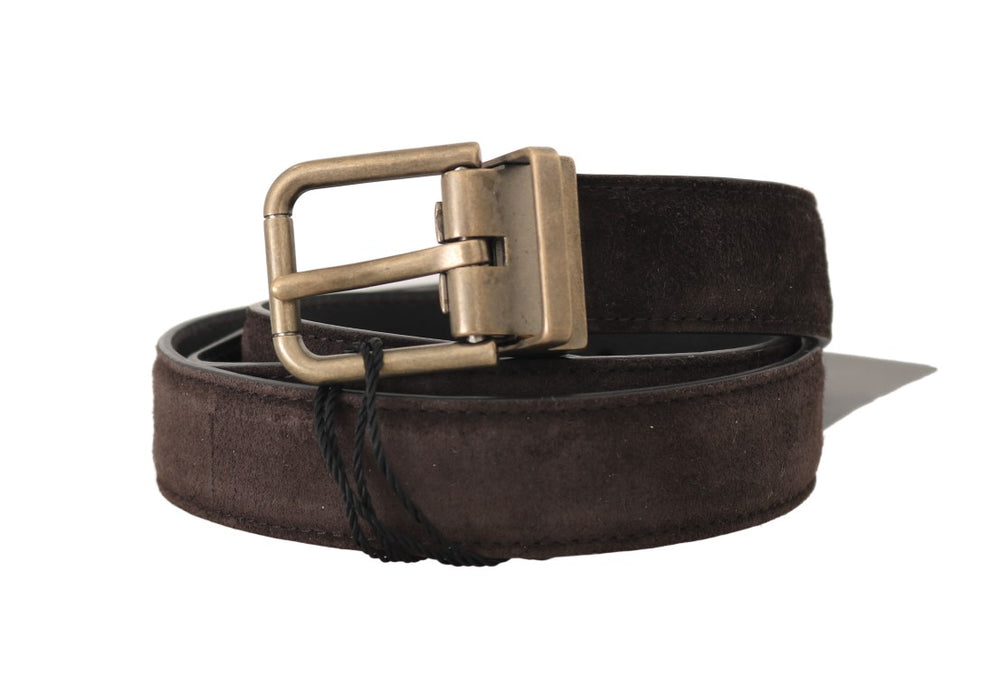 Brown Suede Leather Gold Buckle Mens Belt - EnModa.no