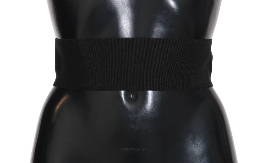 Black Stretch Leather Waist Wide Belt