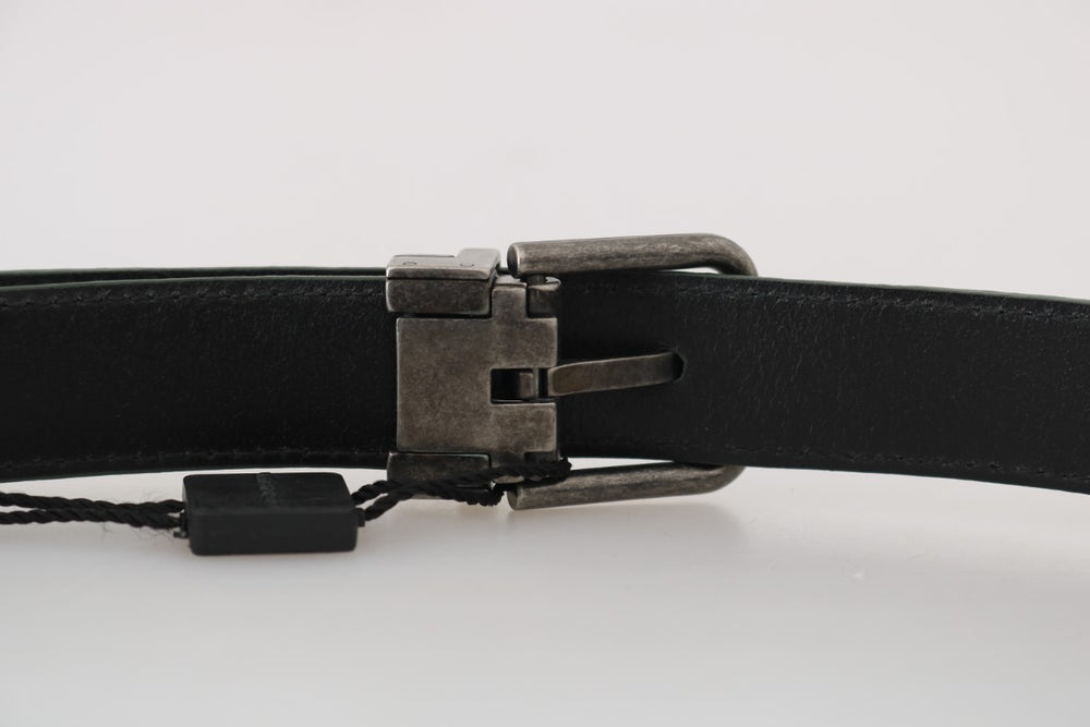 Green Patterned Leather Brushed Buckle Belt