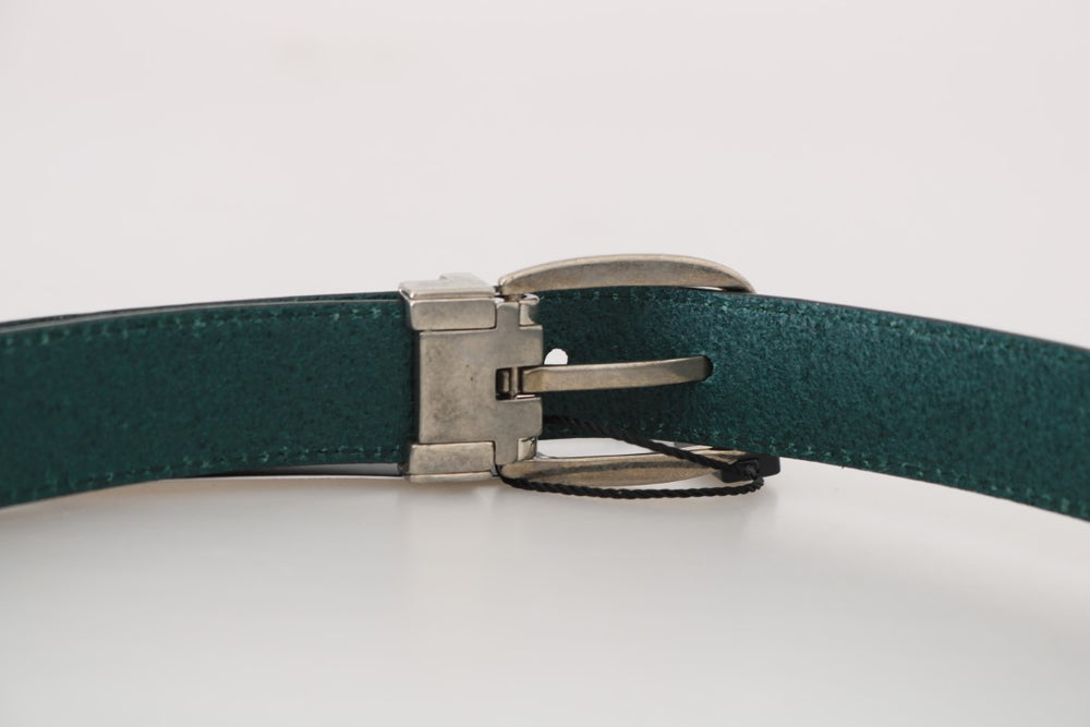 Green Leather Silver Adjustable Buckle Belt