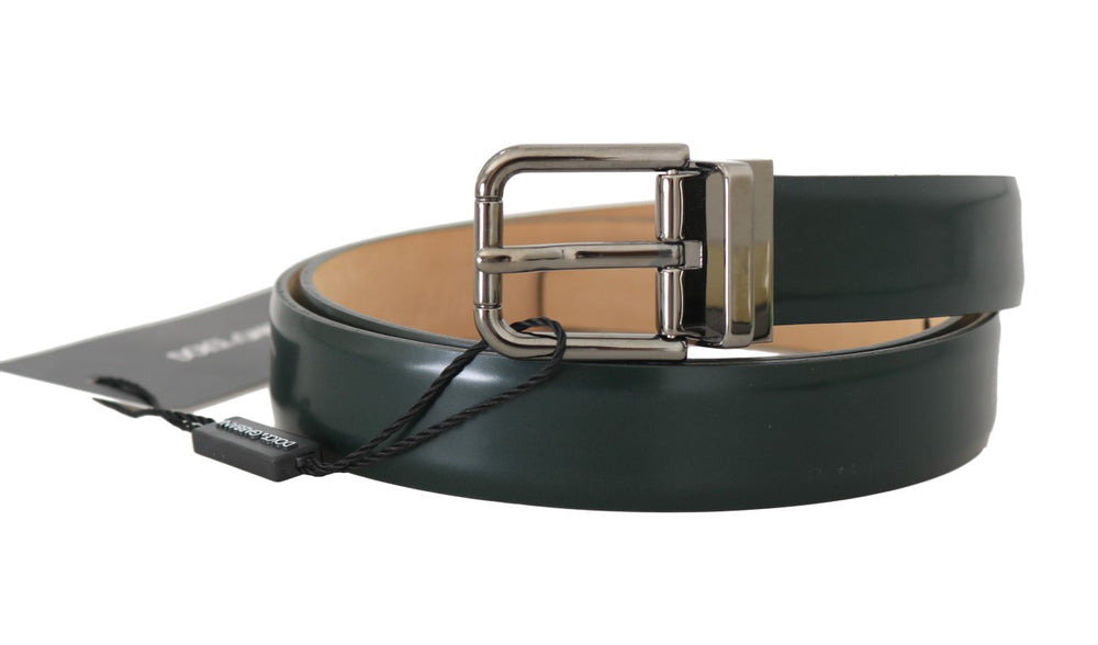 Green Leather Brushed Metal Buckle Mens Belt