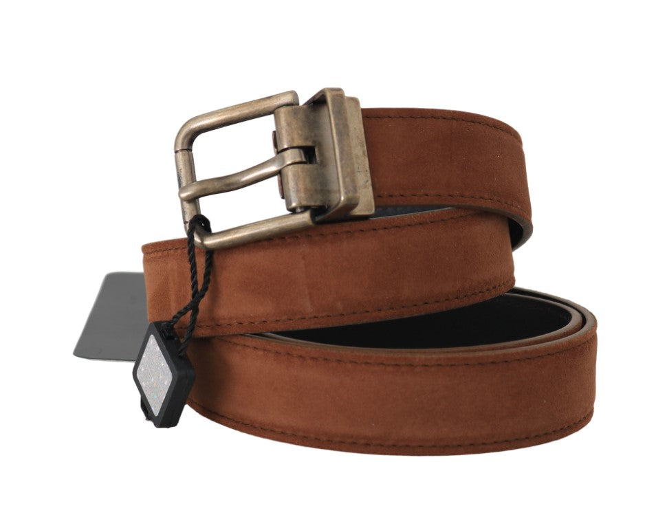 Brown Suede Leather Brushed Buckle Mens Belt