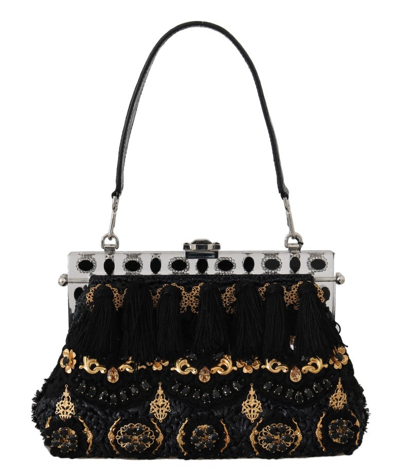VANDA Black Crystal Tassel Gold Charms Party Bag - EnModa.no