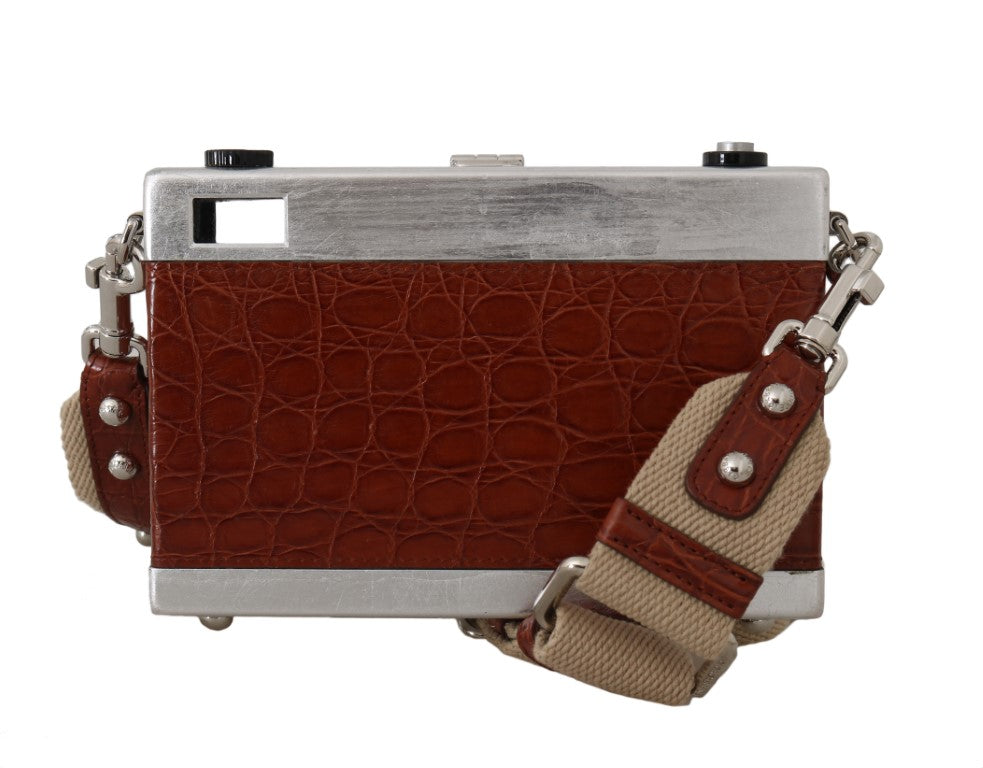 Camera Case Brown Caiman Crocodile Silver Wood Purse - EnModa.no