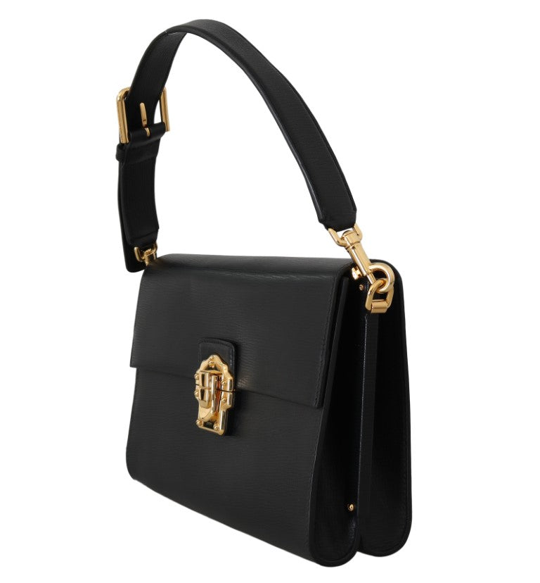 Black Leather LUCIA Shoulder Borse Sicily Purse