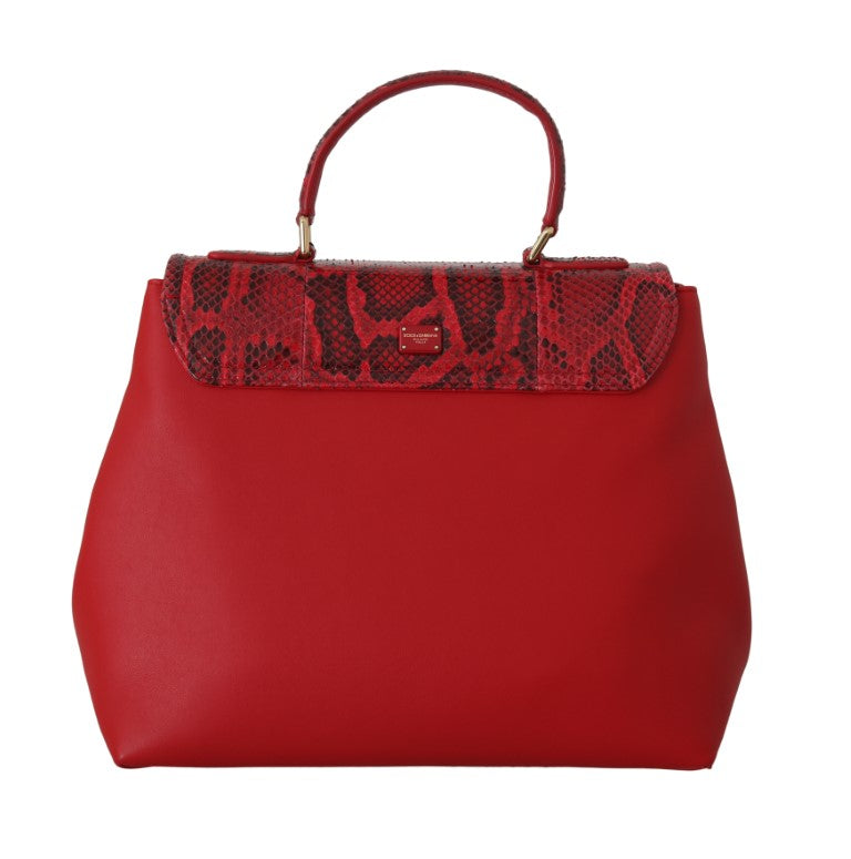 Margherita Red Leather Python Snakeskin Handbag