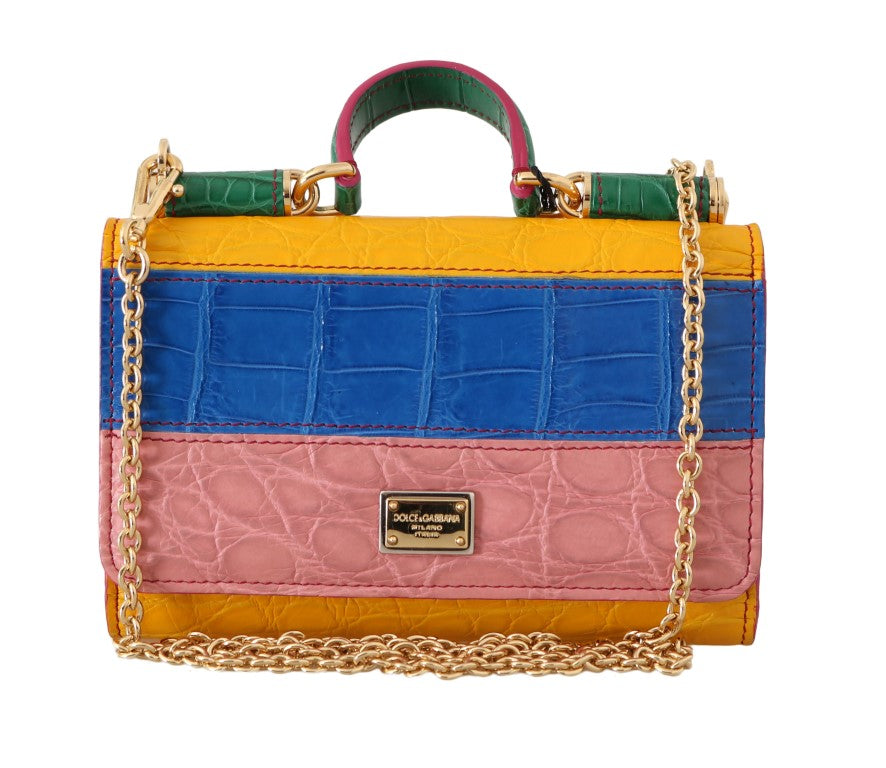 Purse Sicily VON Multicolor Crocodile Skin Hand Bag - EnModa.no