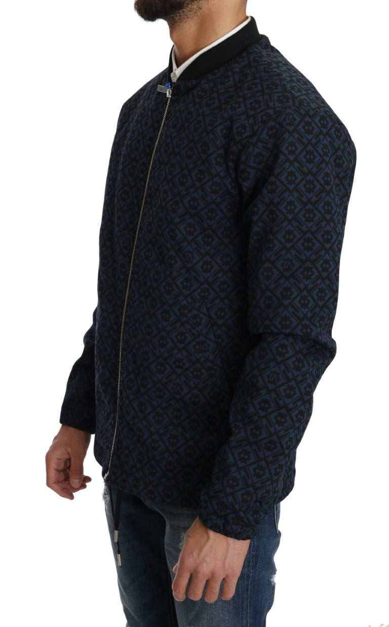 Black Blue Jacquard Print Mens Jacket - EnModa.no