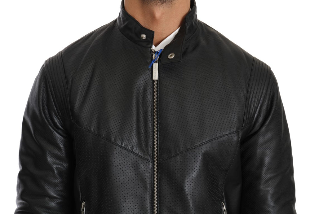 Black Leather Biker Motorcycle Jacket - EnModa.no