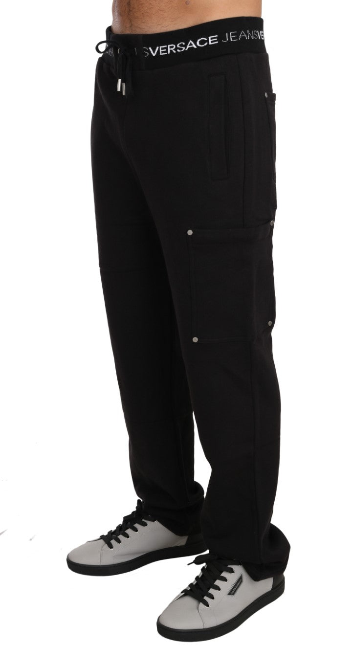 Training Sport Gym Black Cotton Trousers