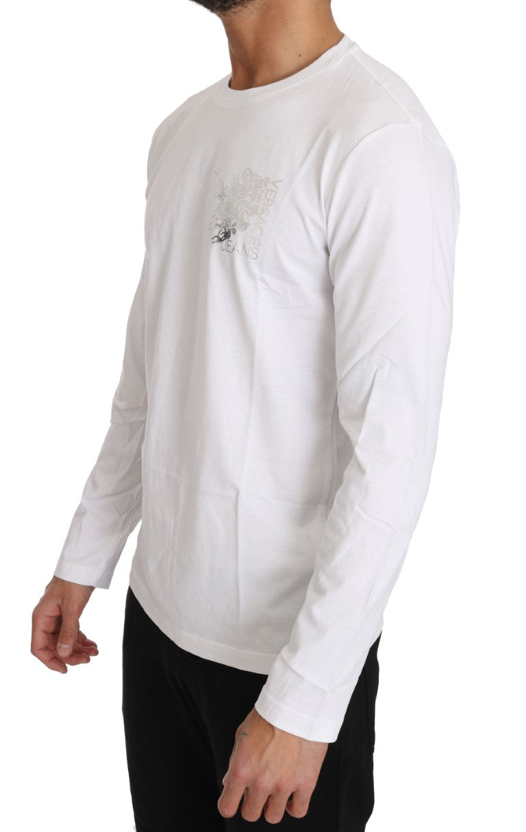 White Cotton Silver Tiger Crewneck - EnModa.no