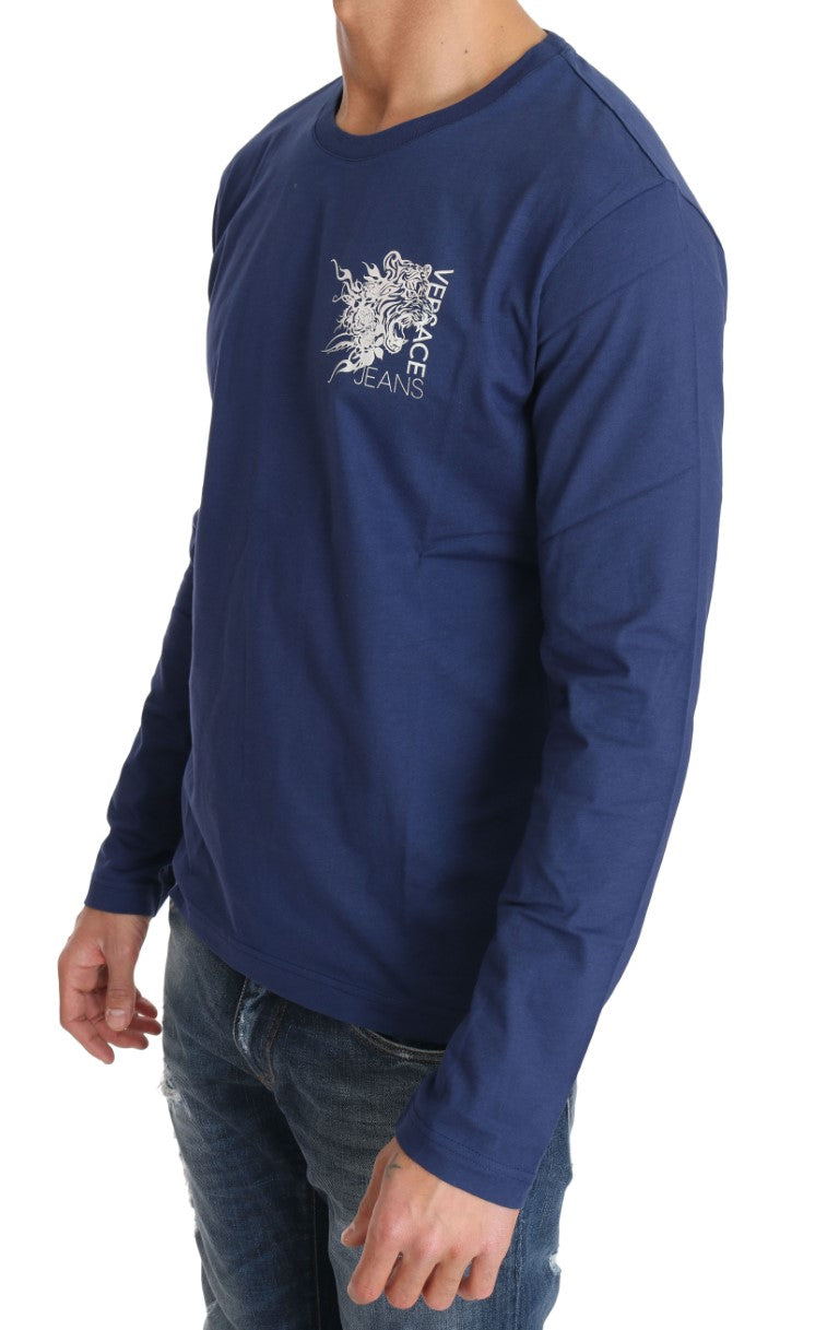Blue Cotton White Tiger Crewneck Pullover