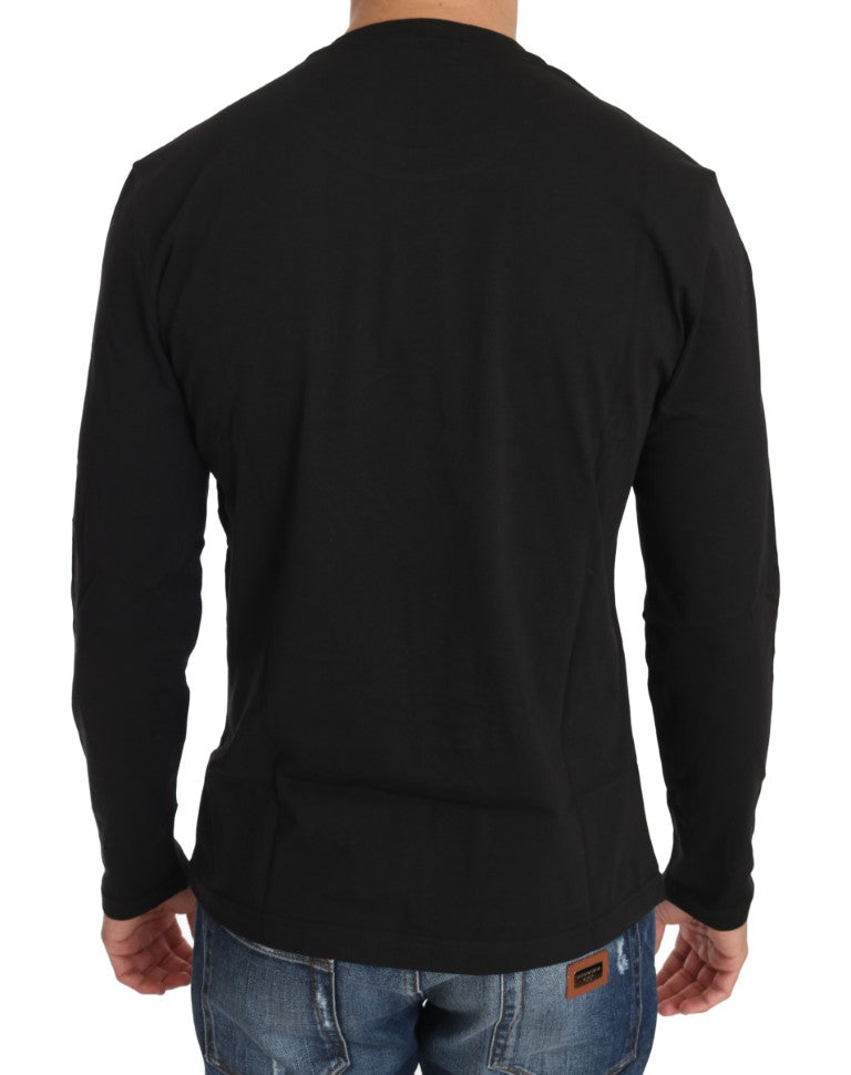 Black Cotton Tiger Embroidered Crewneck T-shirt