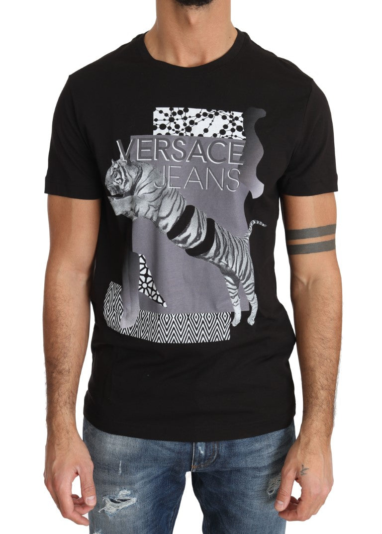 Black Cotton Tiger Motive Print Crewneck T-shirt