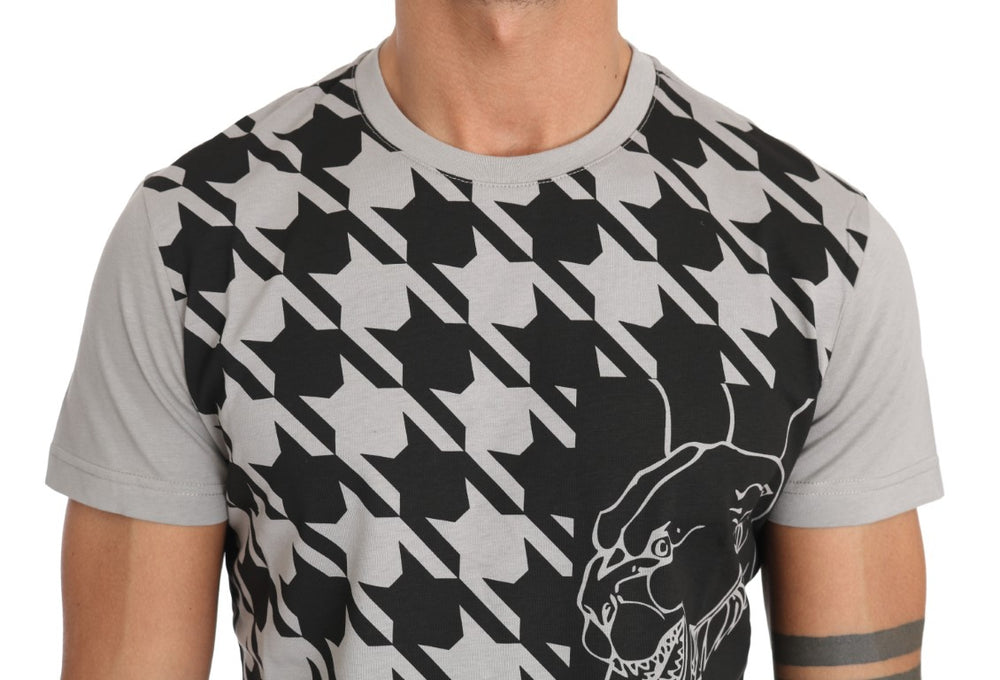 Gray Cotton Tiger Motive Print Crewneck T-shirt