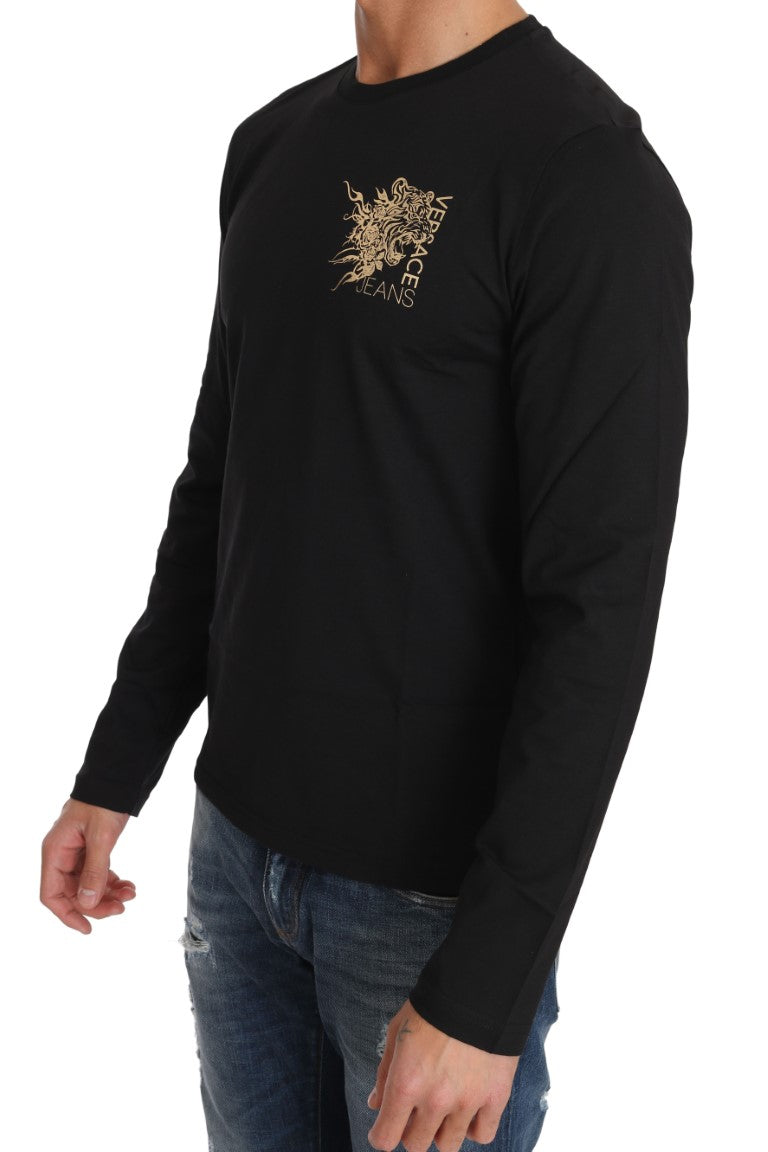 Black Cotton Gold Tiger Crewneck Pullover - EnModa.no