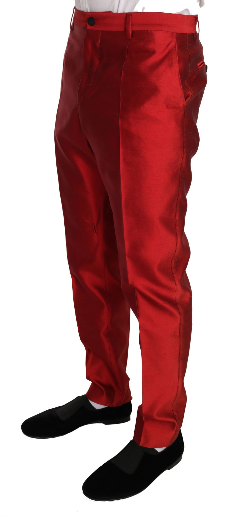 Red Silk Slim Fit 3 Piece Two Button Suit