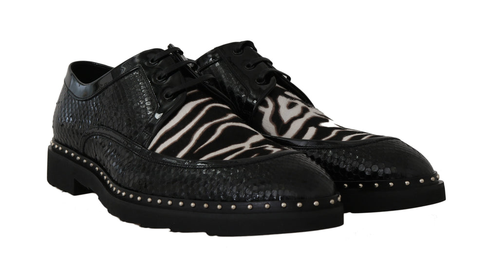 Black Leather Formal White Zebra Shoes
